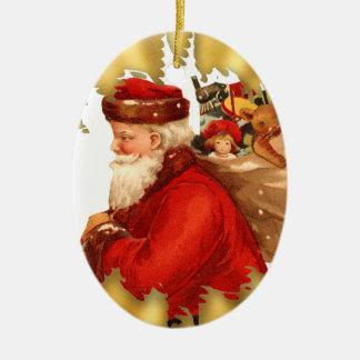 Vintage Santa and Toys Ceramic Christmas Ornament