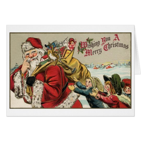 Vintage Santa, bag of toys, children Card