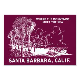 Vintage Santa Barabara California 9 Cm X 13 Cm Invitation Card