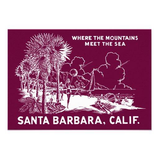 Vintage Santa Barabara California Invitations