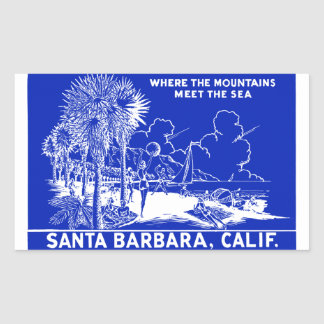 Vintage Santa Barabara California Rectangular Sticker