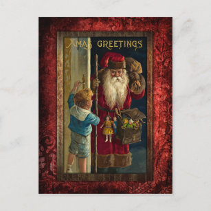 Vintage Santa Bringing Toys Holiday Postcard