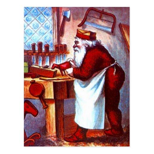 Vintage Santa busy in Wood Shop apron Workshop Postcard