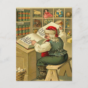 Vintage Santa checking his list Holiday Postcard