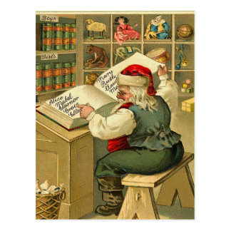 Vintage Santa checking his list Postcard