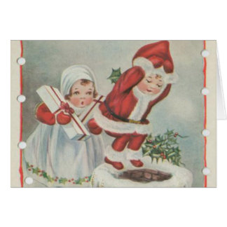 Vintage Santa Children Card