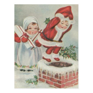 Vintage Santa Children Postcard