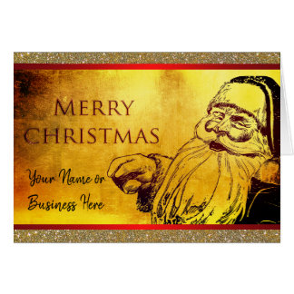 Vintage Santa Christmas Business Family Card