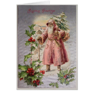 Vintage Santa Christmas Card, Customize It Card