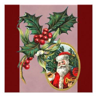 Vintage Santa Christmas Invitations