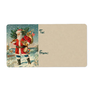 Vintage Santa Christmas Labels