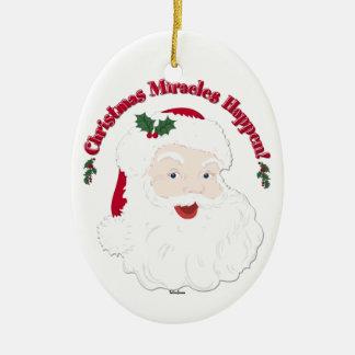 Vintage Santa Christmas Miracles Happen! Ceramic Oval Decoration