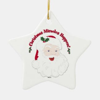 Vintage Santa Christmas Miracles Happen! Ceramic Star Decoration