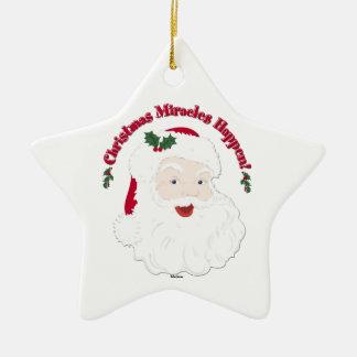 Vintage Santa Christmas Miracles Happen! Ceramic Star Decoration