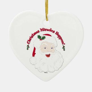 Vintage Santa Christmas Miracles Happen! Ceramic Heart Decoration