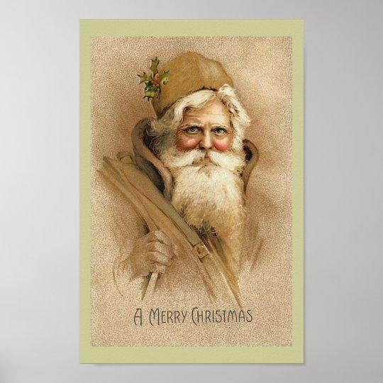 Vintage Santa - Christmas Poster