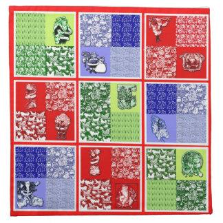 Vintage Santa Christmas Quilt Design Napkin