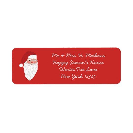 Vintage Santa Christmas Return Address Label