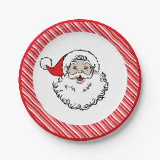 Vintage Santa   Christmas 7 Inch Paper Plate