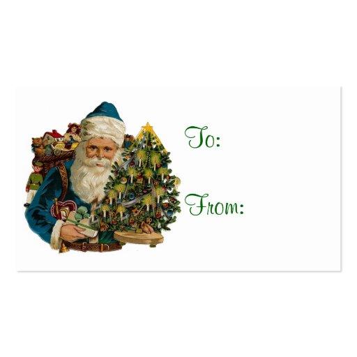 Vintage Santa & Christmas Tree  Gift Tags Business Card Template