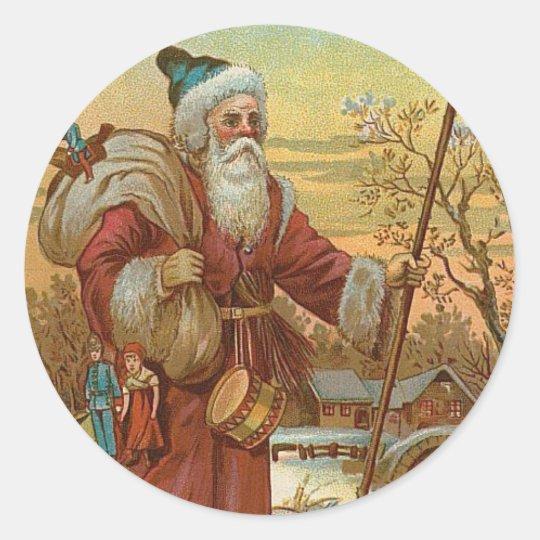 Vintage Santa Classic Round Sticker