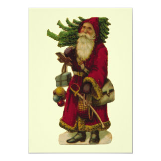 Vintage Santa Claus 13 Cm X 18 Cm Invitation Card