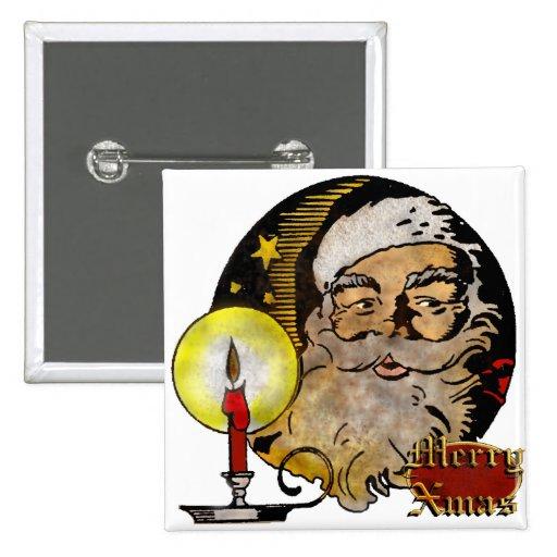 Vintage Santa Claus 15 Cm Square Badge