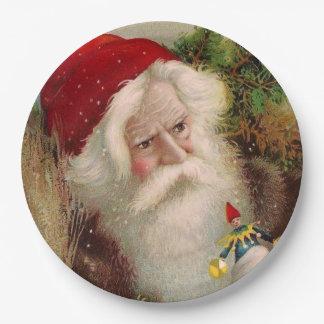 Vintage Santa Claus 9 9 Inch Paper Plate