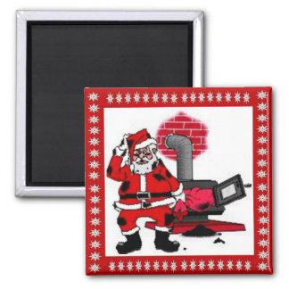 Vintage Santa Claus and a Coal Stove Burner Square Magnet