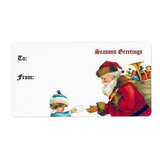 Vintage Santa Claus and Child Gift Tag