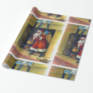 Vintage Santa Claus and Chimney Gift Wrap