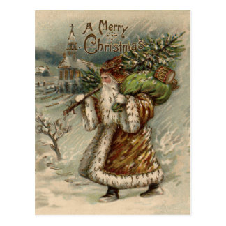 Vintage Santa Claus and Christmas Tree Postcard