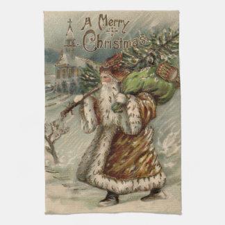 Vintage Santa Claus and Christmas Tree Tea Towel