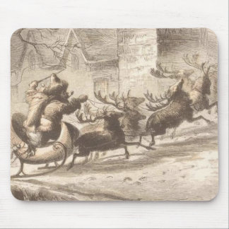 Vintage Santa Claus and Reindeer Illustration Mouse Mat