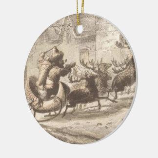 Vintage Santa Claus and Reindeer Illustration Round Ceramic Decoration