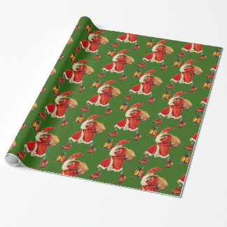 Vintage Santa Claus carrying lantern green Wrapping Paper