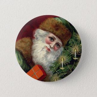 Vintage Santa Claus Christmas Button Pin