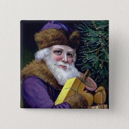 Vintage Santa Claus Christmas Button Pin Square