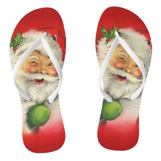 Vintage Santa Claus Christmas Flip Flops
