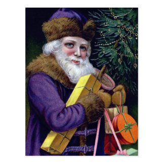 Vintage Santa Claus Christmas Postcard - Purple