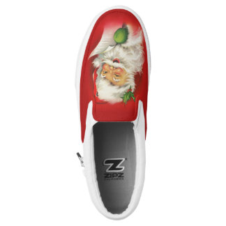 Vintage Santa Claus Christmas Slip On Shoes