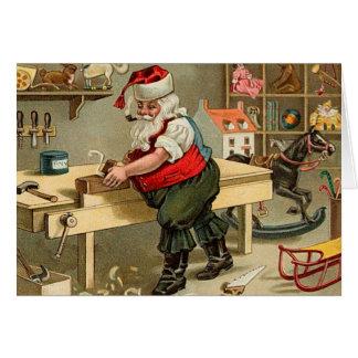 Vintage Santa Claus Christmas Workshop Card