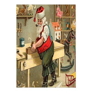 Vintage Santa Claus Christmas Workshop Magnetic Invitations