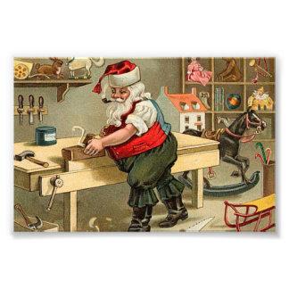 Vintage Santa Claus Christmas Workshop Photograph