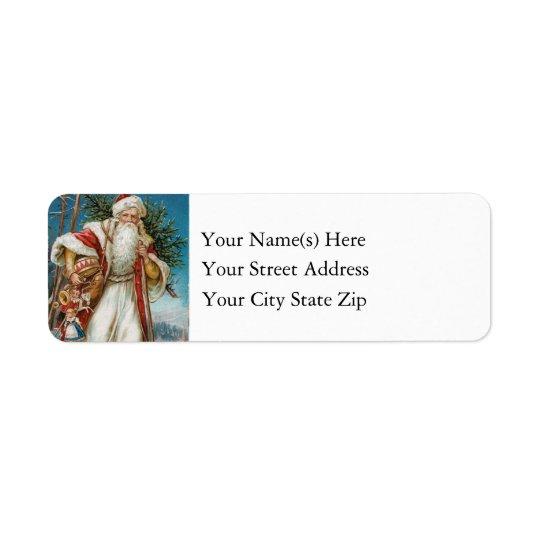 Vintage Santa Claus Delivering Christmas Tree Toys Return Address Label