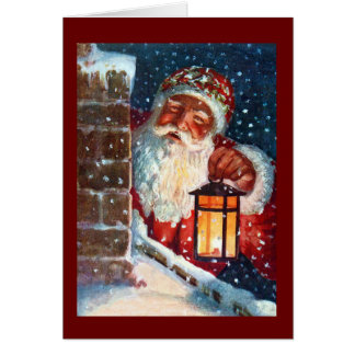 Vintage Santa Claus Father Christmas on Roof Card