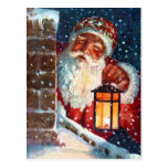 Vintage Santa Claus Father Christmas on Roof Postcard