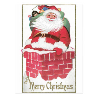Vintage Santa Claus in Chimney Postcard