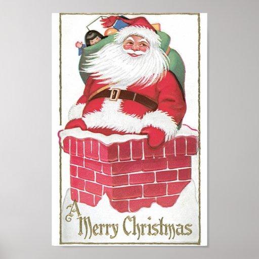 Vintage Santa Claus in Chimney Print