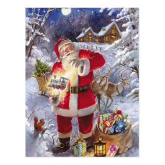 Vintage Santa Claus In The Snow Postcard